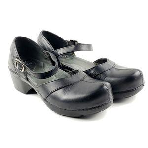 Dansko Sally black leather ankle strap clogs